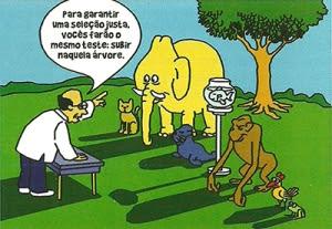 """IMAGEM: Desenho de uma floresta, um macaco, um pinguim, um elefante, um peixe, uma foca e um cachorro estão alinhados em frente a à mesa do professor que diz """"Para garantir uma seleção  justa, todos farão o mesmo teste: subir naquela árvore."""""""