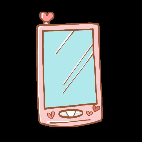 可愛いピンク色のスマートフォンのイラスト かわいいフリー素材が無料