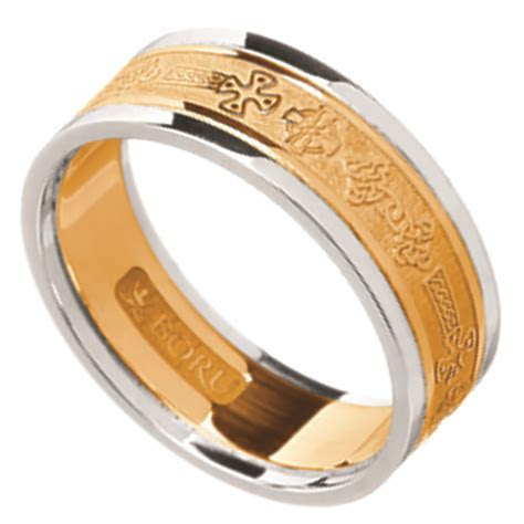 Celtic Ring   Men's Yellow Gold with White Gold Trim