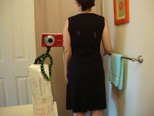 Burda 7696, center back seam let out, but too much swayback pooling