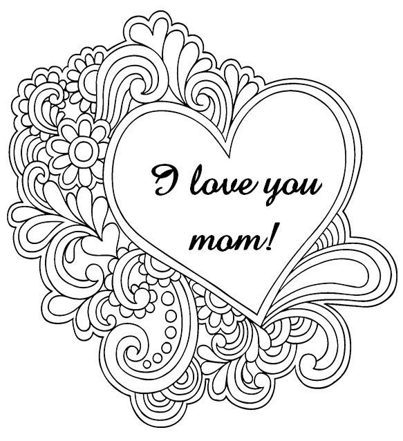 Art Therapy Coloring Page Mothers Day I Love You Mom 8