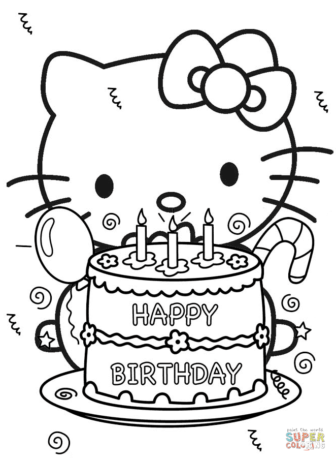 Happy Birthday Hello Kitty Coloring Page Free Printable Coloring Pages Lusine