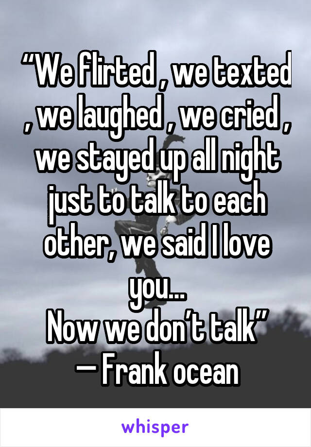 We Flirted We Texted We Laughed We Cried We Stayed Up All
