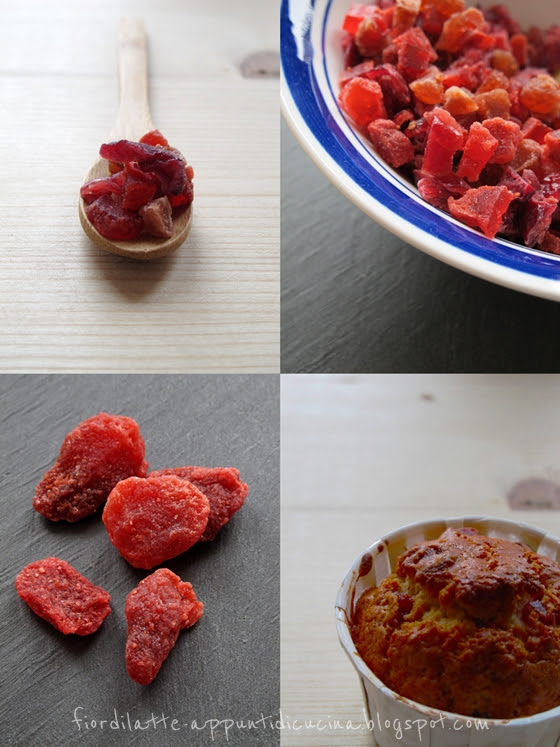 Christmas morning muffin by Nigella - Dried red cranberries and strawberries