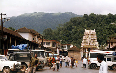 The rainforests of Pushpagiri wildlife sanctuary in Western Ghats forming the backdrop to the temple at Kukke Subramanya