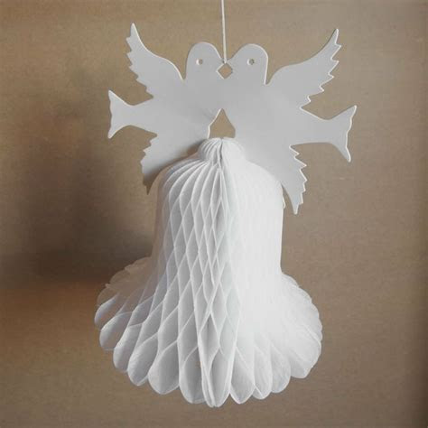 12 inch Paper Honeycomb Decoration, Wedding Bells Double Doves