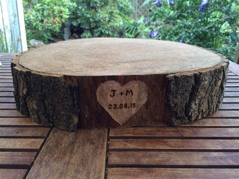 Personalised Wedding Cake Stand, Ash Wooden Round Slices