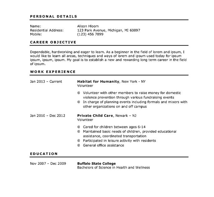 student sample resume for teenager first job  finder jobs