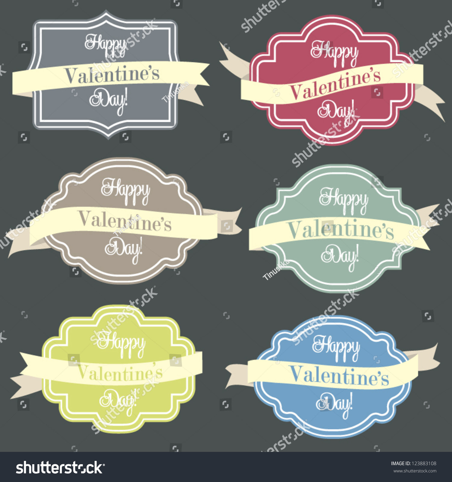 Vintage Styled Editable Labels And Ribbons / Banners, Colorful ...