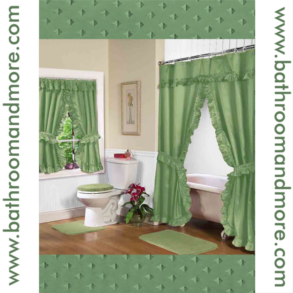 Sage Green Fabric Double Swag Shower Curtain with Matching Window