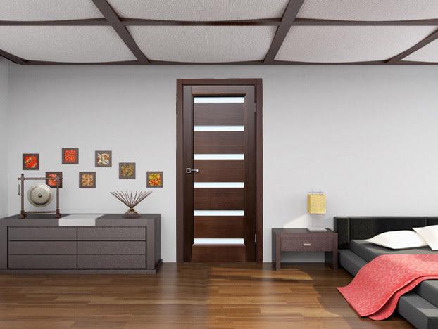 Bedroom Door, Dark Wenge with Frosted Glass - contemporary ...