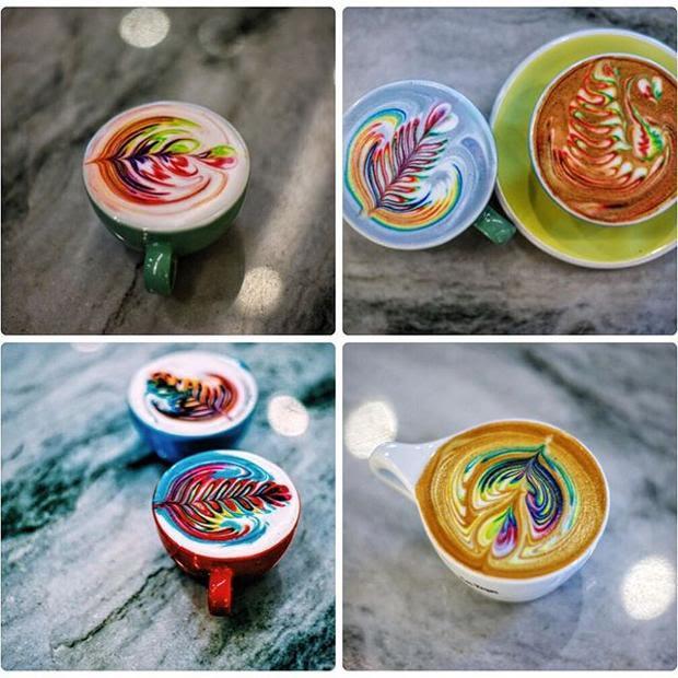 L'idea sembra funzionare e le sperimentazioni del barista  (qui dedicate alla fidanzata) aumentano, così come i like sul social alle immagini di invitanti caffè e cappuccini con latte art multicolore decorati con foglie