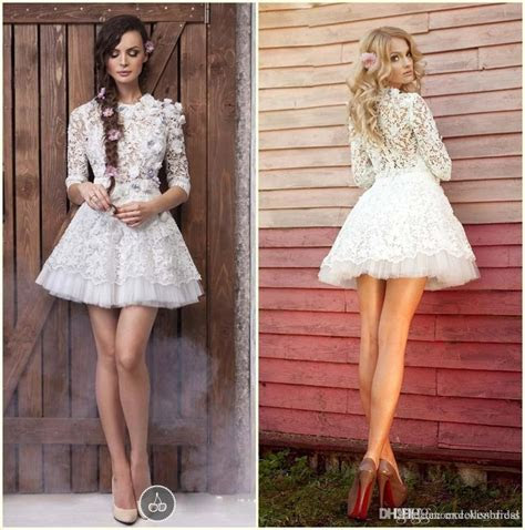 2015 1/2 Long Sleeve Lace Prom Dresses White Flower