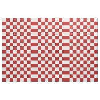 Geometric Checkered Red and White Fabric