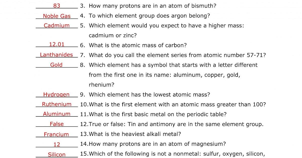 8th Grade Periodic Table Worksheet Pdf - Periodic Table ...