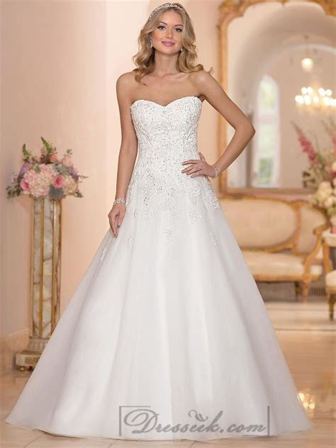 Strapless Sweetheart Embellished Lace Bodice A line