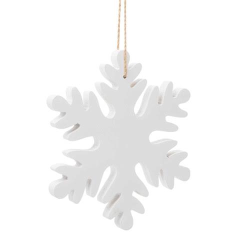 Decorazione con fiocco di neve bianco in legno per l'abete L 15 cm