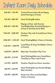 Infant Daily Schedule For Daycare | Daily Agenda Calendar