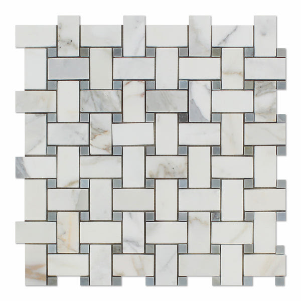 Calacatta Gold Marble Basketweave Mosaic Tile Polished W Blue Gray Dots