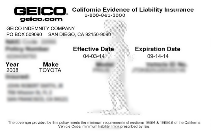 Printable Fake Geico Insurance Card Template - Insurance