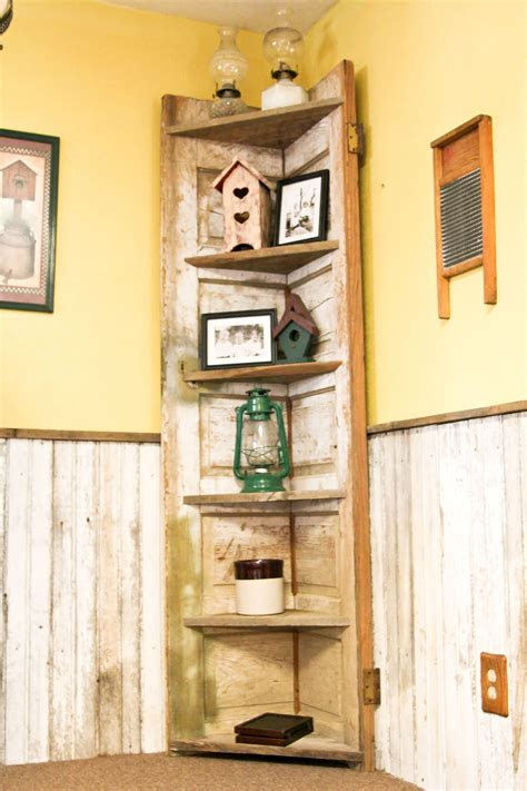 door    rustic corner shelf   kitchen