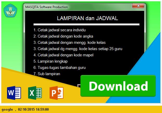 cetak format Jadwal pelajaran SMP Microsoft Excel
