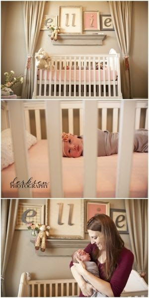 love the idea of curtains framing the name on the wall!  And each letter of the baby's name in its own frame.