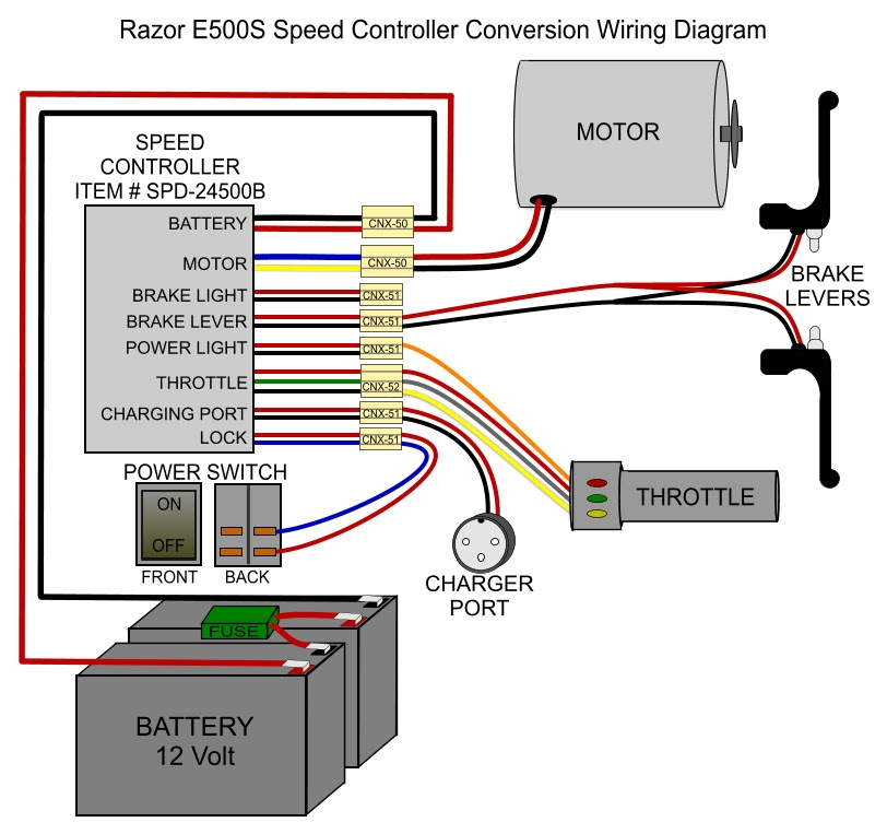 electric scooter throttle wiring diagram  fuse wiring