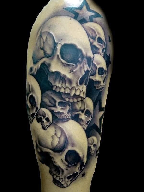 Demon Skull Tattoos On Half Sleeve
