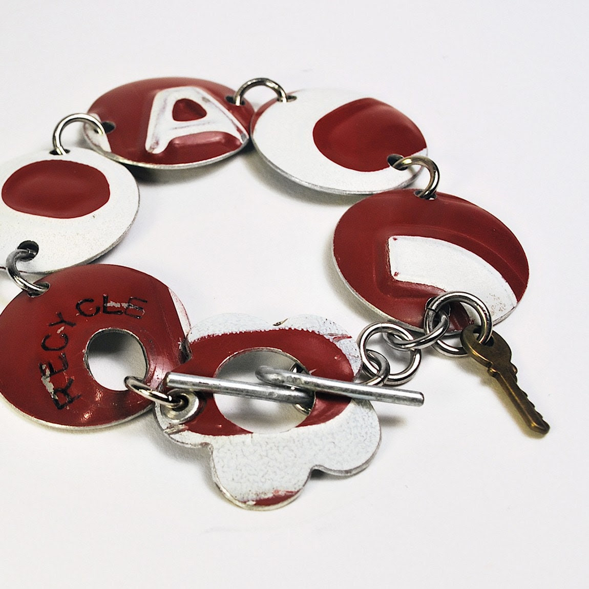 Recycled Jewelry Circle Bracelet from Upcycled License Plates