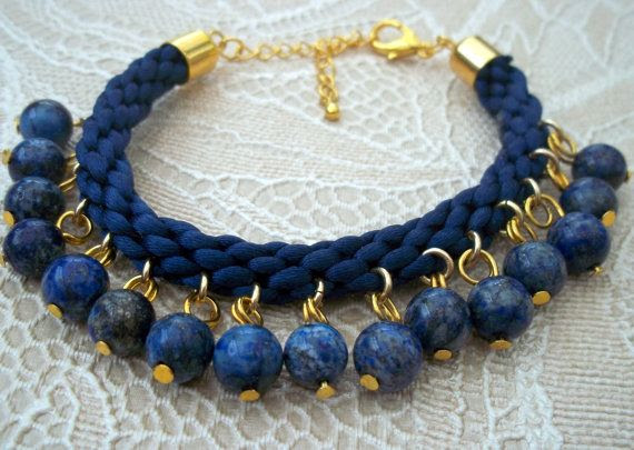 Blue Satin Kumihimo Bracelet with Lapis Lazuli Beads & Gold Plated Fastenings on Etsy, $31.54