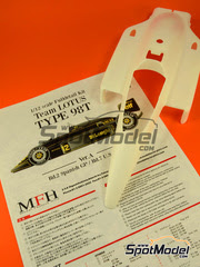 Maqueta de coche 1/12 Model Factory Hiro - Lotus Renault 98T John Player Special Nº 11, 12 - Ayrton Senna, Johnny Dumfries - Gran Premio de España, Gran Premio de Norteamérica 1986 - kit multimaterial