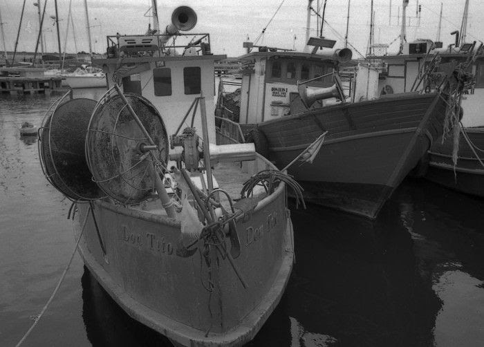 two boats idling