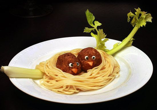 Birds of a Feather: Spaghetti and meatballs take a turn for the cute when they're arranged in a cozy nest!