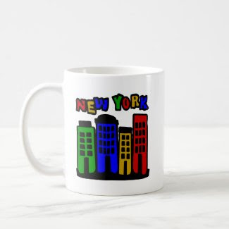 New York With Colorful Brownstones mug