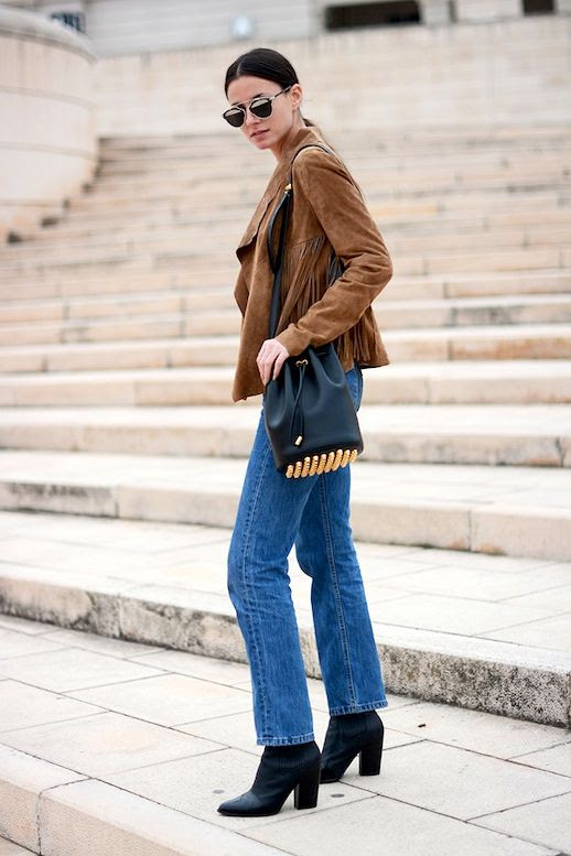 Le Fashion Blog Blogger Style Dior Sunglasses Brown Suede Fringe Coat Alexander Wang Studded Bucket Bag Medium Wash Levis Denim Chunky High Heeled Ankle Boots Via Fashion Vibe