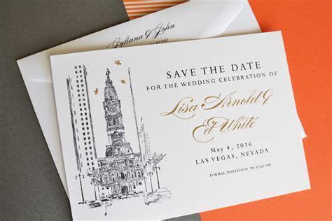 Philadelphia City Hall Skyline Hand Drawn Save the Date Cards