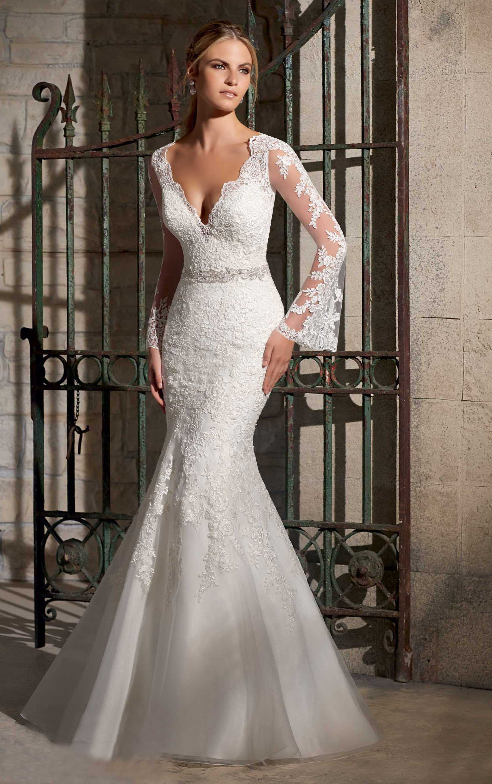Awesome V Neck Lace Embroidered Mermaid Organza Wedding Dress with Long Lace Trimmed Sleeves