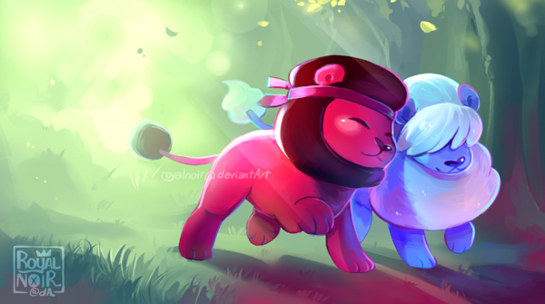 Ruby and Sapphire Lions on a stroll~