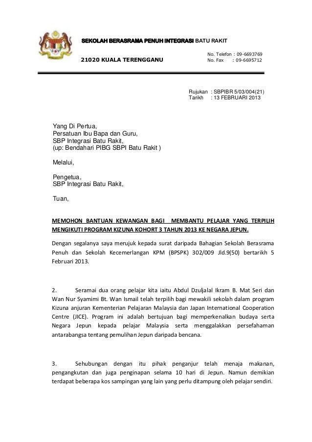 Surat Rasmi Permohonan Sumbangan Pibg Terengganu S