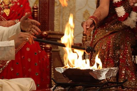 Hindu Wedding Ceremony. A purifying ritual with a fire