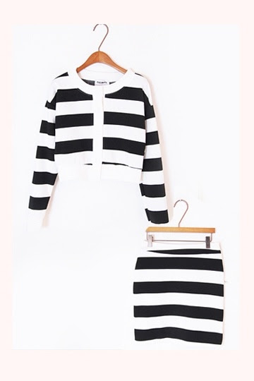 Black White Striped Two-Piece Suit