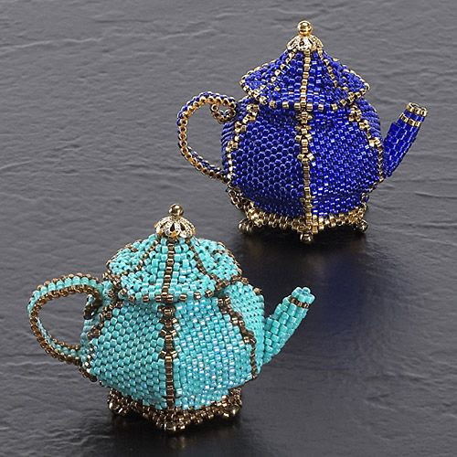 Time for teapots: peyote and brick stitch (Download Now)