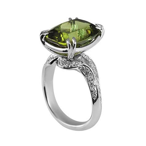 Marcy Green Tourmaline And Diamond Engagement Ring
