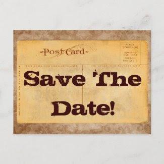 Vintage Save The Date! Invitation Postcards postcard