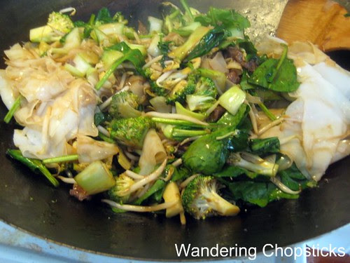 Banh Uot Xao Bo (Vietnamese Wet Rice Noodle Sheet Stir-fry) with Beef, Bok Choy, Broccoli, Bean Sprouts, and Spinach 7