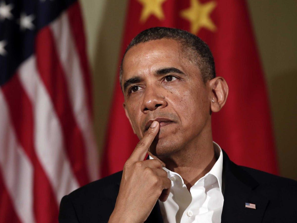 Obama Chinese flag US