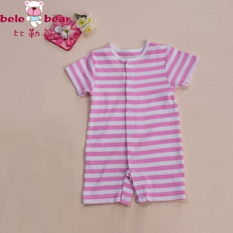 Baby cotton romper, newborn short sleeved rompers baby boys/girls striped dress Free Shipping
