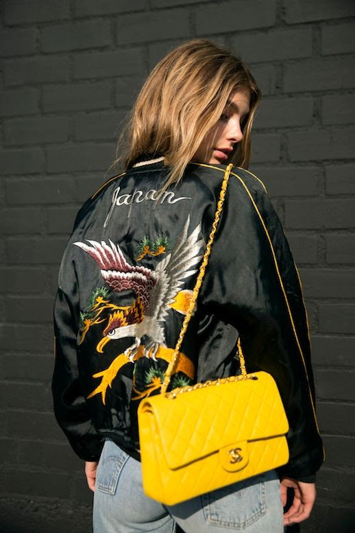 Le Fashion Blog Blogger And Model Style Japan Embroidered Bomber Jacket Yellow Chanel Bag Vintage Levis Jeans Via Cami Morrone