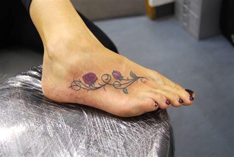 beautiful rose tattoos foot